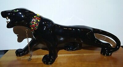 Vintage Ceramic Black Panther Unmarked with Collar Mid Century MCM Green Eyes