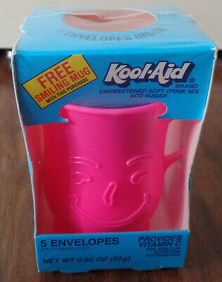 Vintage Kool-Aid Smiling Pink Neon Mug(BRAND NEW-SEALED)There Are No Envelopes