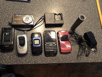 Lot Of 5 Assorted Old Vintage Used Cell Phones/Chargers/Camera