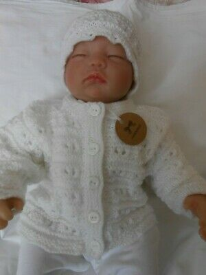 Hand knitted baby cardigan and hat set in white  size 0-3 months