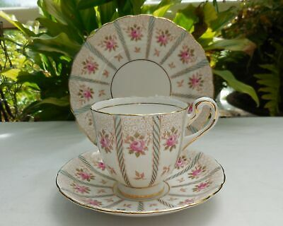 Vintage Royal Chelsea Pink Rose Regency Pattern Tea Cup Saucer Plate Trio