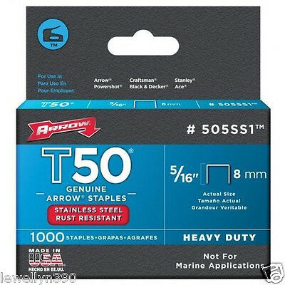 "Arrow Stainless Steel Staples (5/16"" T50) 505Ss1 New"