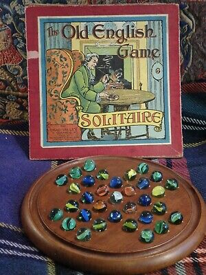 An Antique Wooden * Mahogany * Solitaire Board And Glass Marbles
