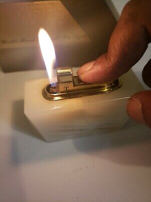 Vintage Bentley Table  Lighter..Agate & Brass  in box