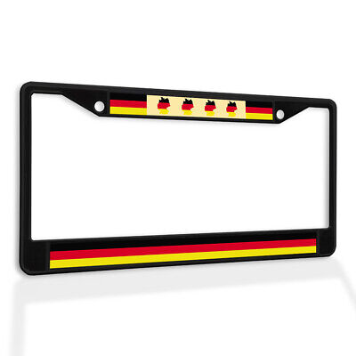 Metal License Plate Frame Vinyl Insert Flag of Germany with Map German