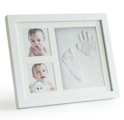 Premium Clay Baby Footprint & Handprint Picture Frame Kit - Safe