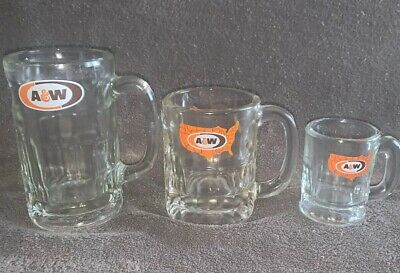 3 Vintage A & W Root Beer Glass Mugs Heavy Duty Papa Mama & Baby Mugs