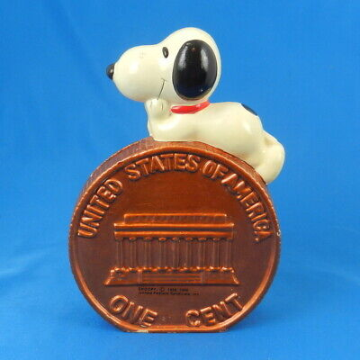 Vintage Peanuts SNOOPY ON PENNY Coin Bank Figurine Charlie Brown Dog *NICE*