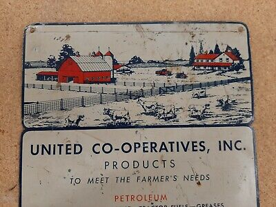 1930s Vintage CO OP Products Tin Sign Farm Gas Oil Tires Paint Steel Fly Spray