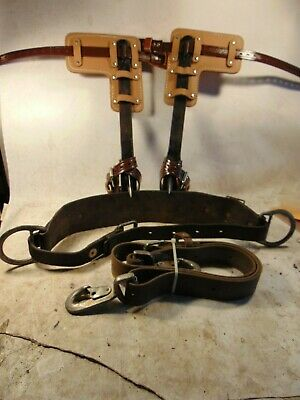 """Set With KLEIN Co 16-1/2"""" STEEL POLE/TREE Climbing Spurs/Spikes/Gaffs Kit"""