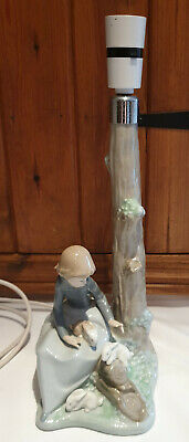 Nao by Lladro porcelain lamp girl with rabbits lamp AF full working order though
