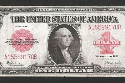 Beautiful Red Seal Us Note 1923 $1 Large Currency, No Pinholes, No Tears