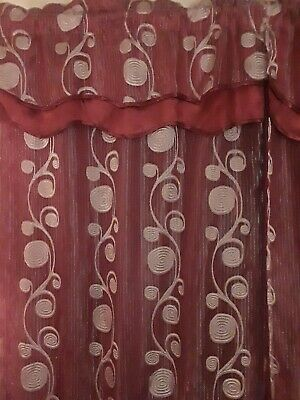 Window 3 pair Curtains (6 pieces) Luxury Burgundy/Gold W/Valance & Sheer