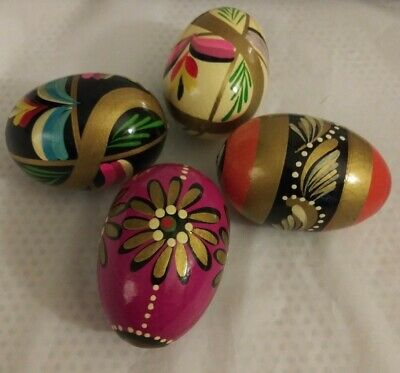 VINTAGE COLLECTIBLE WOODEN/RESIN? POLISH HAND PAINTED EASTER EGGS LOT of 4