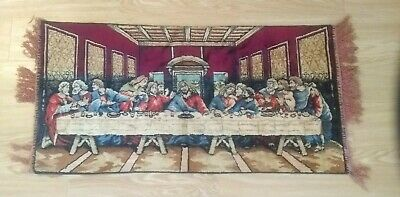 Vintage The Lords Last Supper Tapestry for Wall Table Decor 38 x 19 inches