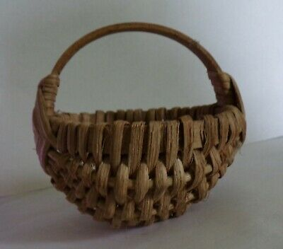 Vintage Hand Made Miniature Woven Basket / Dated 1937