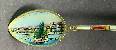 Sterling .800 Souvenir Spoon-Geneve JLE Rousseau, Switzerland-Enamel Bowl-Gilt