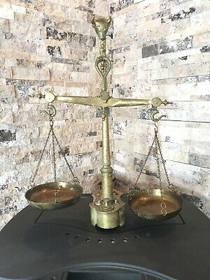 "VINTAGE BRASS SCALE BALANCE BULL HEAD ENGRAVING RARE COMPLETE - 23"" 5kg"