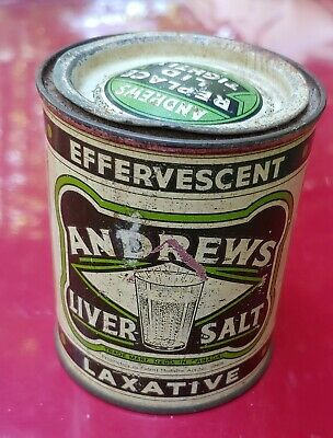 Vintage Andrews Liver Salt Ad Litho Tin Boxes , England