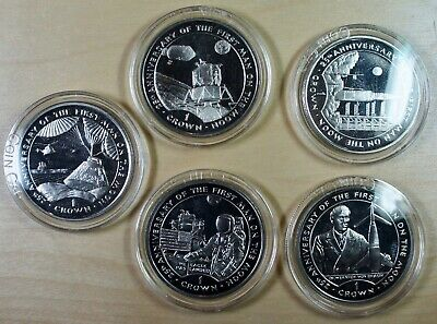 Gibraltar 1994 - Set of 5  1 Crown 25th Anniversary of the First Man on he Moon
