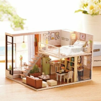 Dollhouse Miniature DIY Kit with Cover Wood Toy Doll House Cottage W/LED light
