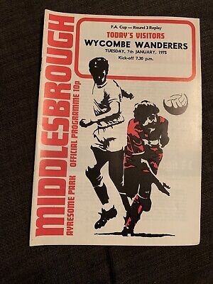 1975 Middlesbrough V Wycombe Wanderers  Programme FACUP