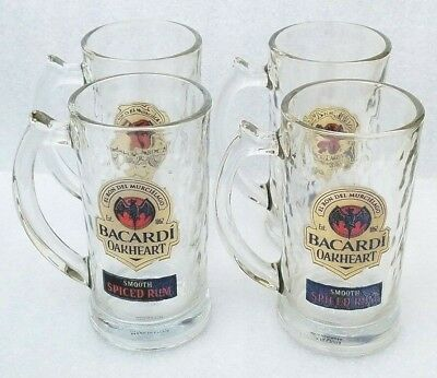 Bacardi Oakheart Smooth Rum Beer Glasses Stein Mug Heavy Drinking Glass 4- 12oz