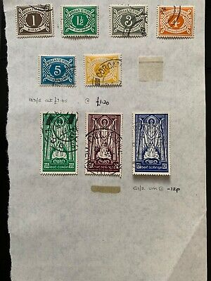 Eire Ireland early stamps on old page inc postage dues and Eire set 2/6 5s & 10s