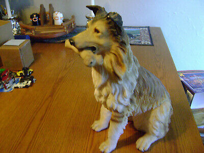 """Large Vintage Collie Dog Lassie Resin Statue Figure 15"""" Tall and Very Detailed!"""