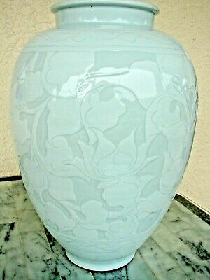 "Rare Chinese Lotus Porcelain Blue Green Celadon Glazed Vase Artist Signed 17"" T"