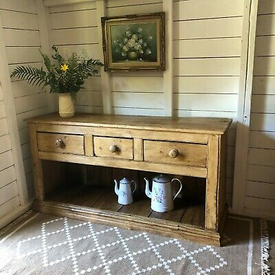 Rustic Victorian Antique Pine Dresser Base With Open Pot Board FREE DEL ENG WALE