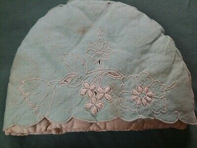 Vintage mint green embroidered Tea Cosy