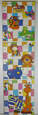 """Animal Patch Foldable Hardcover Hanging Wall Growth Chart Pictures 60""""/5' Unisex"""