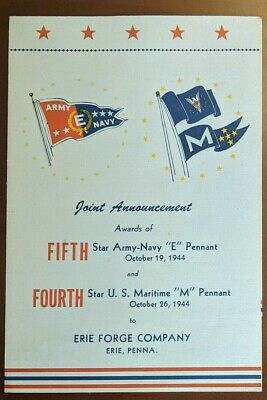 WWII Army Navy E & Maritime M Award Erie Forge, Erie PA. October 1944