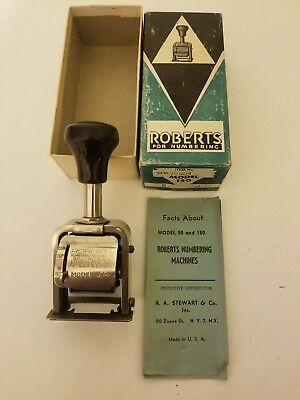 Vintage Roberts Model 150 Numbering Machine Hand Stamp Government USA