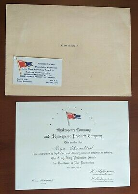 WWII Army Navy E Award Certificate + Card to Shakespeare Co.1943 Kalamazoo MICH