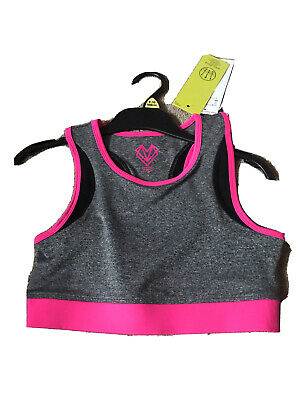 F&F Girls Active Lycra Sports Crop Top Grey & Neon Pink . Age 9-10 Years Bnwt