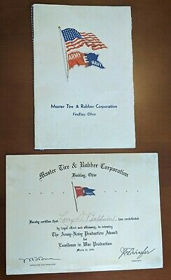 WWII Army Navy E Award Program, Certificate Master Tire & Rubber Findlay OH 1945