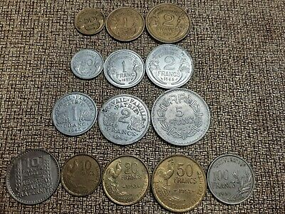 14 different types 1930s-50s high quality, high grade French type coins Lot2