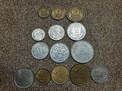 14 different types 1930s-50s high quality, high grade French type coins Lot3