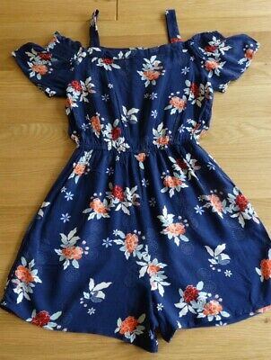 Girls New Look Floral Summer Playsuit Age 12-13 Years Short Leg Jumpsuit VGC