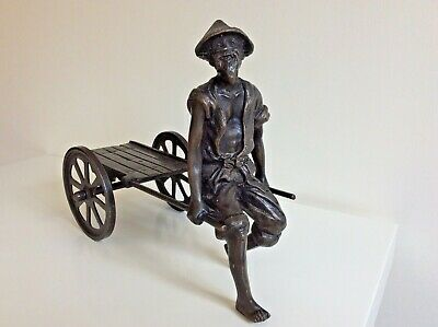 Vintage CHINESE BRONZE FIGURE with CART