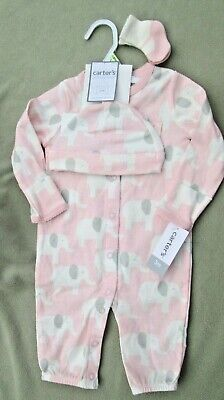 CARTERS LITTLE BABY BASICS, 3 Piece Pink White Elephant Print, Hat Socks $24 NEW