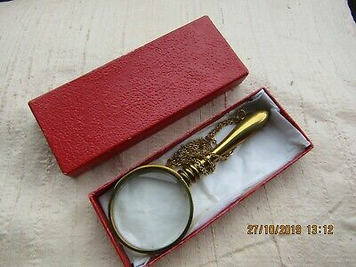 Brass Magnifying Glass On Chain: Vintage & Boxed