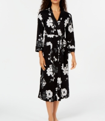 Charter Club Printed Cotton Long Knit Robe MSRP $69 Size S # 2U 364 Blm