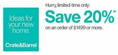 Crate and Barrel 20% OFF Purchase RARE Furniture Coupon Expires 6/2/2020 Fast