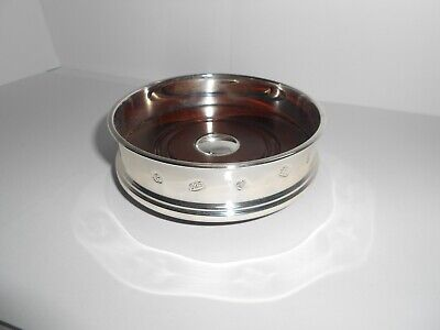 Silver and Oak Wine Bottle Coaster - Hallmarked Carrs of Sheffield 2003