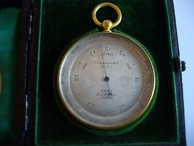 Near Mint Gilt 'Cary' Pocket Barometer & Altimeter In Display Case:fully Working