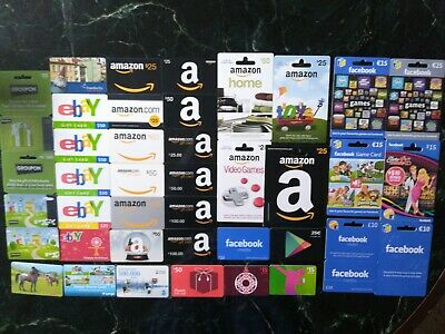 Collection of 34+ from online stores Gift Cards: Amazon, eBay, Facebook, Groupon