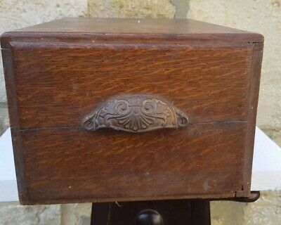 Antique rustic hardwood wooden box storage with drawer cast iron handle